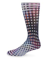 Etro | Blue Abstract Check & Paisley Dress Socks for Men | Lyst