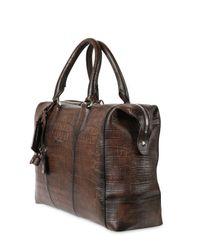 Santoni Brown Hand Painted Embossed Leather Duffle Bag for men