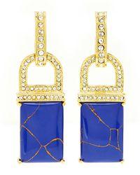 Rachel Zoe | Gold-tone  Blue Square Drop Earrings | Lyst