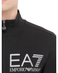 EA7 - Black Train Visibility Zip Cotton Sweatshirt for Men - Lyst