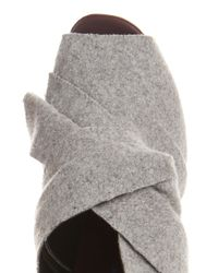 Proenza Schouler Gray Bow Felt and Leather Mules