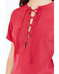 Lucca Couture - Purple Short Sleeve Lace-up Dress - Lyst