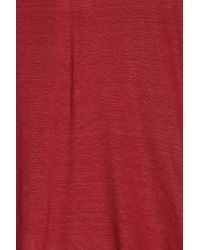 120% Lino - Red V-neck T-shirt - Lyst