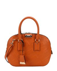 Burberry | Copper Orange Check Leather 'orchard' Small Bowling Bag | Lyst
