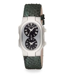 Philip Stein | Green Signature Stainless Steel & Iridescent Embossed Leather Dual Time Zone Watch | Lyst