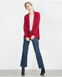 Zara | Red Draped Neck Cardigan | Lyst