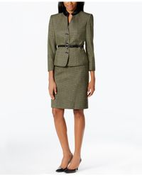 Tahari Green Petite Belted Three-button Tweed Skirt Suit