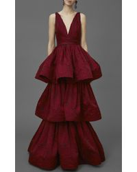 Marchesa Textured Rose Brocade Tiered Gown