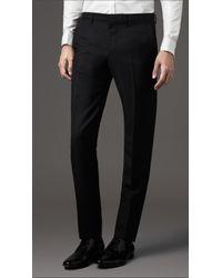 Burberry Black Slim Fit Wool Trousers for men