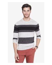 Express | Gray Mixed Stripe Crew Neck Sweater for Men | Lyst