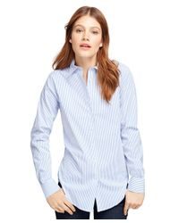 Brooks Brothers | Blue Classic Fit Cotton Stripe Dress Shirt | Lyst