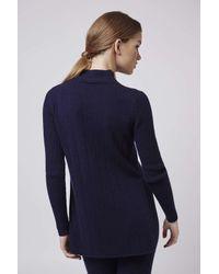 TOPSHOP - Blue Premium Cashmere Rib Tunic - Lyst