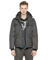 Antonio Marras Gray Wool Herringbone Nylon Down Jacket for men