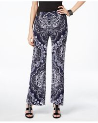 INC International Concepts - Gray Petite Printed Pull-on Trousers, Only At Macy's - Lyst