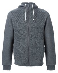 Sacai - Gray Cable Knit Panel Hoodie for Men - Lyst