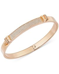 Swarovski | Pink Rose Gold-tone Crystal Buckle Bangle Bracelet | Lyst