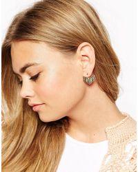 ASOS - Metallic Cut Triangle Swing Earrings - Lyst
