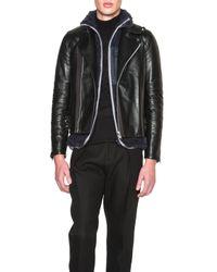 Sacai Black Shearling Insert Motorcycle Jacket