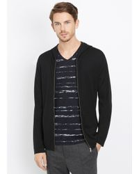 VINCE | Black Wool Silk Zip-up Hoodie With Leather Trim for Men | Lyst