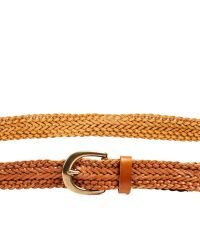 Linea Pelle | Brown Vintage Skinny Braid Belt | Lyst