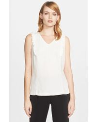 kate spade new york | White Ruffle Front Sleeveless Top | Lyst
