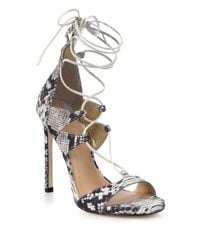 Stuart Weitzman - White Legwrap Snake-embossed Leather Lace-up Sandals - Lyst
