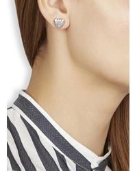 Marc By Marc Jacobs | Metallic Silver Tone Heart Stud Earrings | Lyst