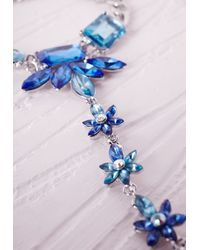Missguided | Blue Floral Detail Hand Chain Silver | Lyst