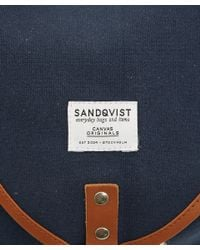Sandqvist Blue Navy Oskar Canvas Backpack for men