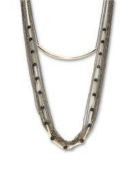 ABS By Allen Schwartz | Metallic Layered Rhinestone Chain Necklace | Lyst