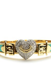 Juicy Couture   Blue Pave Heart Buckle Leather Bangle   Lyst