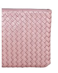 Bottega Veneta Pink Small Grosgrain Effect Leather Clutch