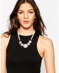 Lipsy | Metallic Flower And Pearl Collar Necklace | Lyst