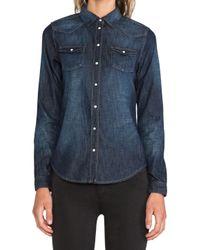 Maison Scotch - Blue Denim Western Shirt - Lyst