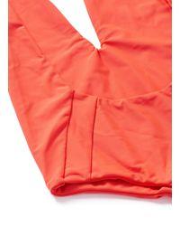Mikoh Swimwear Orange 'hinano' Low Cut Scoop Back Halter Swimsuit
