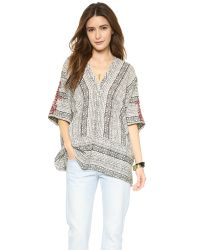 Free People | Gray Noyal Tribal Beat Top - Ivory Combo | Lyst