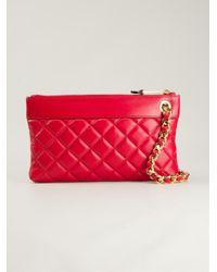 Moschino - Red Quilted Chain Clutch - Lyst