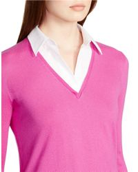 Lauren by Ralph Lauren | Pink Layered Sweater | Lyst
