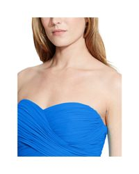 Ralph Lauren - Blue Strapless Georgette Gown - Lyst