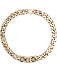 Balenciaga Metallic Studded Id Plate Necklace-Colorless