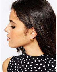 ASOS | Metallic Pearl & Cube Double Earrings | Lyst