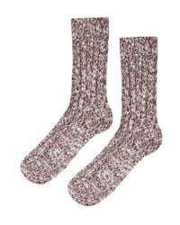 TOPSHOP - Brown Chunky Knit Socks - Lyst