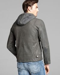 Cole Haan Gray Vintage Leather Perforated Panel Moto Jacket for men
