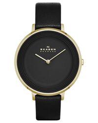 Skagen Women's Ditte Black Leather Strap Watch 30mm Skw2286 - A Macy's Exclusive