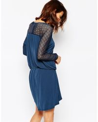 Vila - Blue Long Sleeve Belted Dress With Lace Sleeves - Lyst