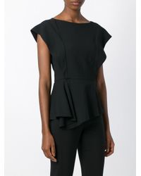 Vionnet - Black Draped Asymmetric Blouse - Lyst