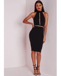 Missguided | Sleeveless Gold Hoop Trim Midi Dress Black | Lyst