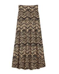 Forever 21 Black Tribal Print Maxi Skirt