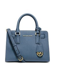 MICHAEL Michael Kors   Blue Dillon Small Leather Satchel Bag   Lyst