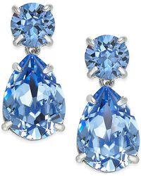 kate spade new york - Silver-tone Blue Crystal Drop Earrings - Lyst
